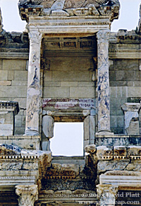 Detail of the Library of Celsus facade, showing a later inscription.  Photo © 2003 David Platt.